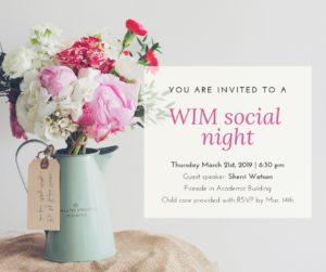 WIM Social Night - Ladies Invited! @ Fireside Room, CSBS&C